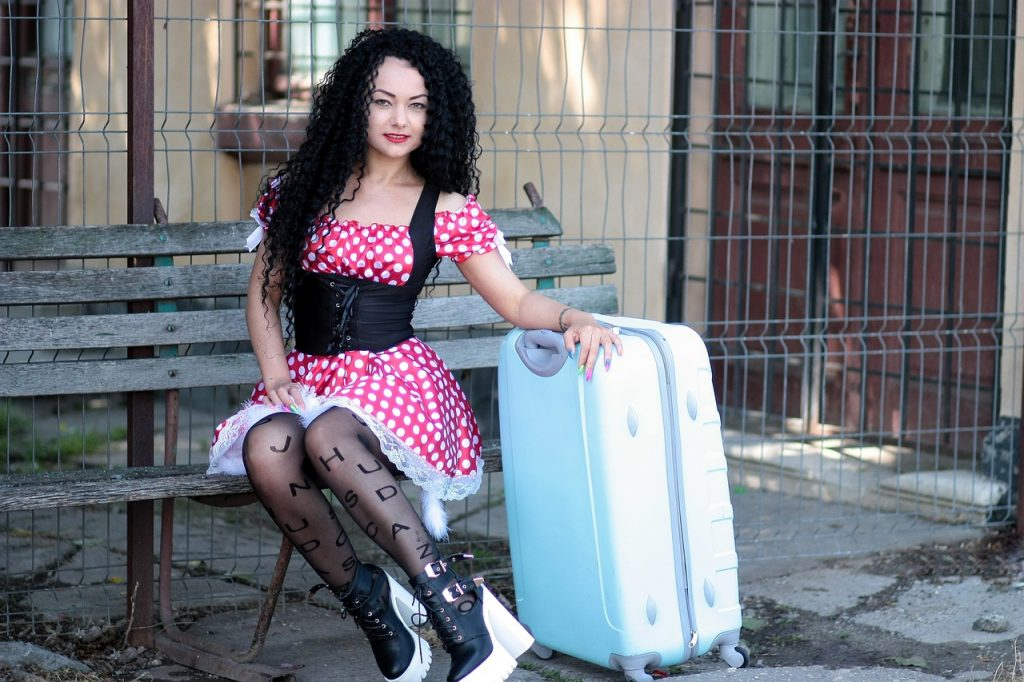 girl, suitcase, bank